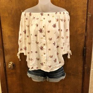 Floral print off the shoulder blouse. NWT